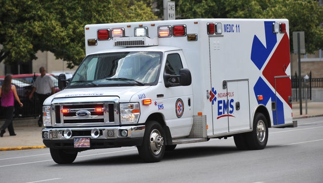 An ambulance responds to a call in Downtown Indianapolis.