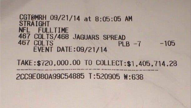 Floyd Mayweather's alleged betting ticket.