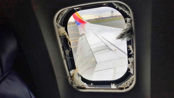 The window that was shattered after a jet engine of