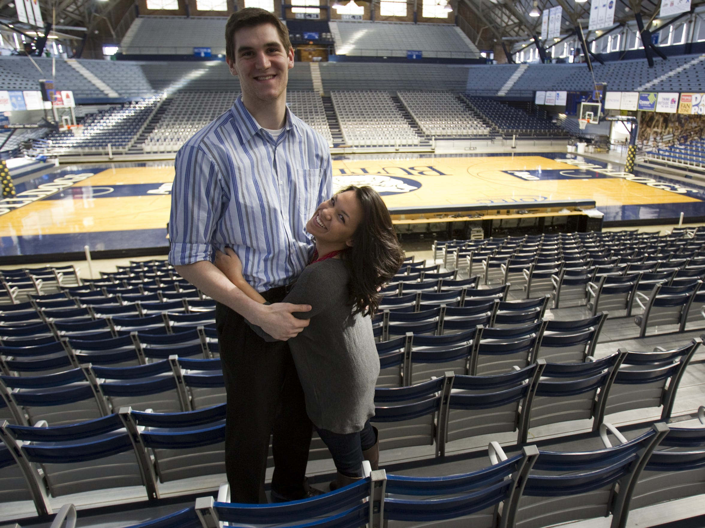 Andrew Smith, Butler center, and Samantha Stage in Hinkle Fieldhouse, Feb. 19, 2013.