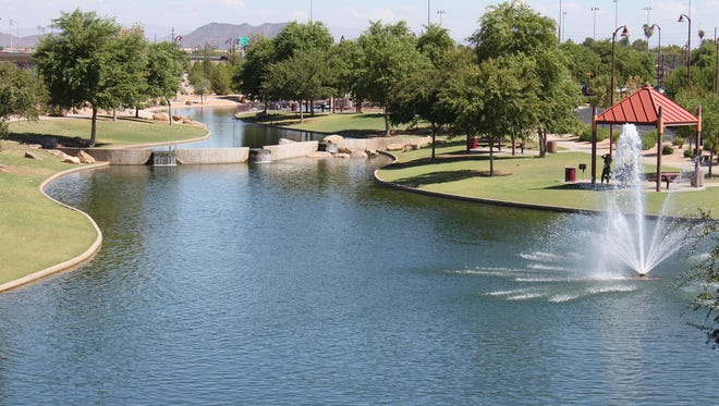 Rio Vista Community Park | 8866-A W. Thunderbird Rd., Peoria. | A 52-acre park with an urban fishing lake, a skate park and splash pad, and sand volleyball courts and softball fields. There are also multi-purpose fields and a recreation center open to all Peoria residents.