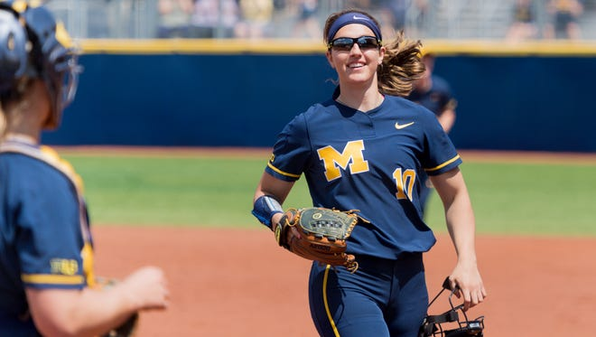 Michigan pitcher Meghan Beaubien comes off the field during an 8-0 defeat over Ohio State, which clinched the Big Ten title for the Wolverines.
