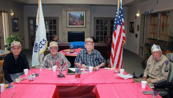 Members of the China, Burma, India Veteran's Group. From left, Eliseo Fernandez (from El Paso), Milton Buls, Dan White and Ray Luchini.
