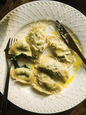 "These spinach and goat cheese-filled pierogi are from ""Fresh From Poland: New Vegetarian Cooking From the Old Country"" by Micha Korkosz."