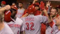 Cincinnati Reds right fielder Jay Bruce (32) celebrates