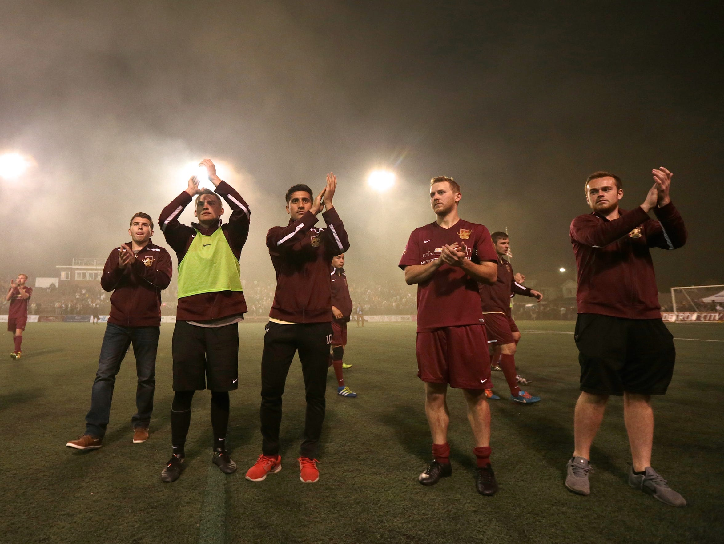 Detroit City FC players thanks the fans after their
