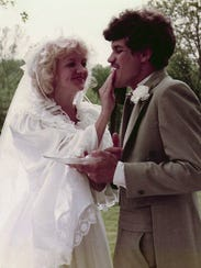 Chonda and David Pierce on their wedding day in 1984