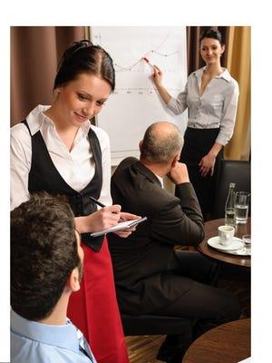Leadership business meeting waitress take order