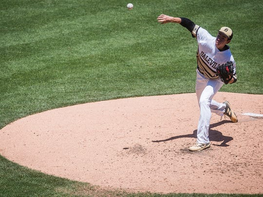 Daleville's Brandon Vermillion pitches against Lanesville