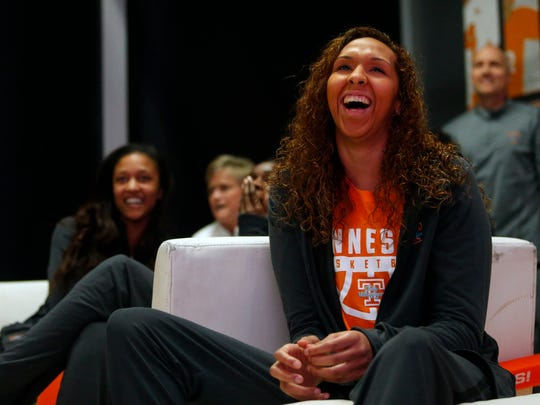 Tennessee's Mercedes Russell and teammates react after