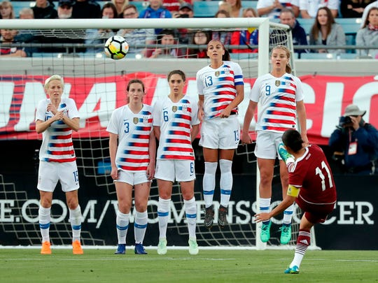 United States players try to block a free kick by Mexico's