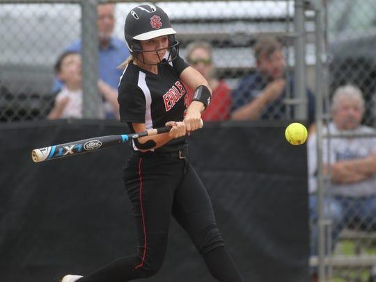 NFC senior Lauren Chorey unleashes her power swing,