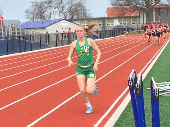 Newark Catholic sophomore Charlotte Campbell finishes