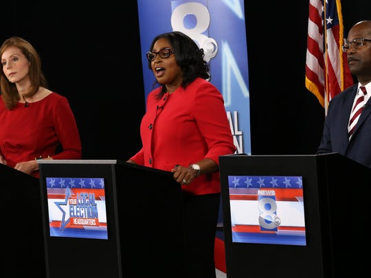 Rachel Barnhart, Rochester Mayor Lovely Warren and James Sheppard during the mayoral debate at WROC on Thursday.