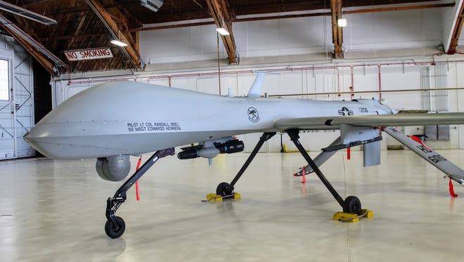 An MQ-1 Predator sits on display at Holloman Air Force Base Monday, Feb. 27. Holloman retired the unmanned aircraft during a special ceremony on base.