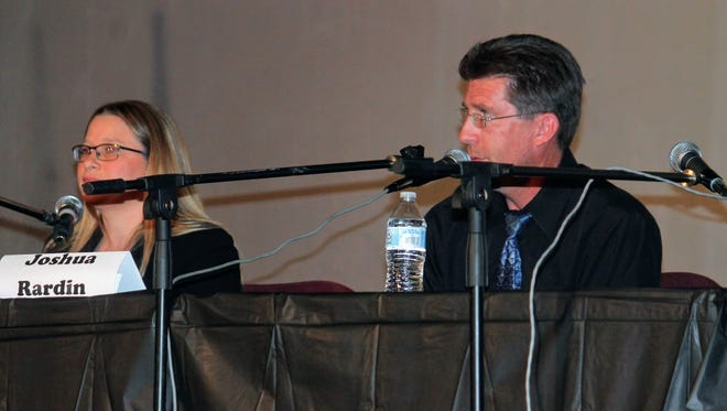 City Commission candidate for District 4 Christina L. Martinez went head to head with candidate Josh Rardin at Tuesday's debate hosted by the Republican Party of Otero County at the Historic Sands Theater.