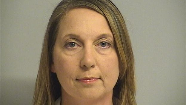 Betty Shelby, the Tulsa police officer charged with manslaughter in the killing of an unarmed black man, is shown in her  arrest photo after turning herself in to Tulsa County authorities on Sept. 23, 2017.