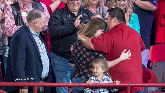 Ian Rook and his family were surprised Wednesday, Feb. 14 at the San Angelo Stock Show and Rodeo with the news they were receiving a new mortgage-free, custom-built home from Operation FINALLY HOME, along with Biggerstaff Homes and the Home Builders Association.