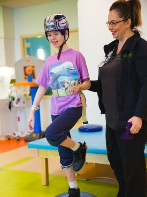 Abigail Kopf at Mary Free Bed Rehabilitation Hospital in Grand Rapids earlier this year.