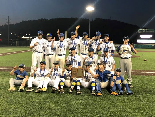 Lansing players and coaches with their championship