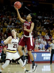 New Mexico State guard Tamera William, right, shoots