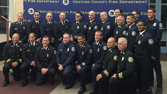 Recently-promoted employees with the Ventura County Fire Department were recognized last week in Camarillo. Many of the promotions were due in part to retirements in the department.