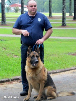Capt. Clint Earls and K-9 Ike, who was euthanized Monday as he battled cancer.