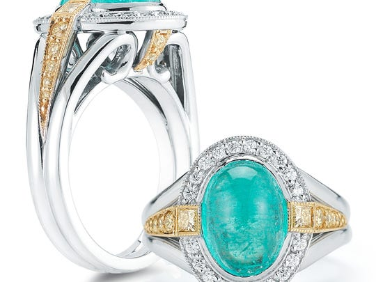 A Paraiba tourmaline ring from Aires Jewelers' Signature Collection.