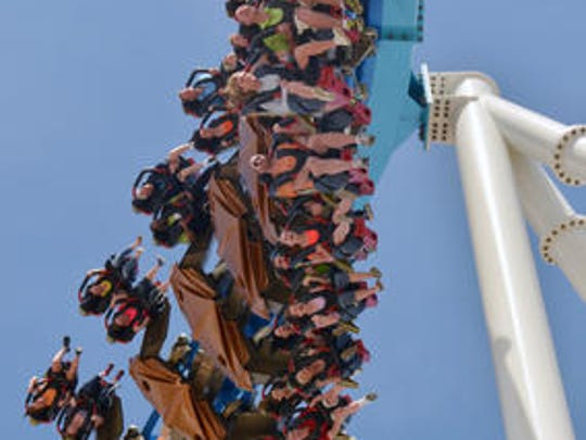 This May 9, 2013 file photo released by Cedar Point shows riders testing the new, $30 million winged rollercoaster called GateKeeper at Cedar Point park in Sandusky, Ohio.Cedar Point, the company?s flagship park in Sandusky added two new family rides this year with just enough thrill to keep the entire family happy.