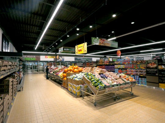 The Stevens Point Aldi location held a Grand Reopening ceremony Wednesday, October 4, 2017, after completing rennovations that included larger aisles, expanded produce sections, higher ceilings, and more refrigerated goods, in Stevens Point, Wis.