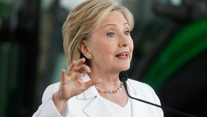 Democratic presidential candidate Hillary Clinton announces her rural policy plan Wednesday, Aug. 26, 2015, at the DMACC campus in Ankeny, Iowa.