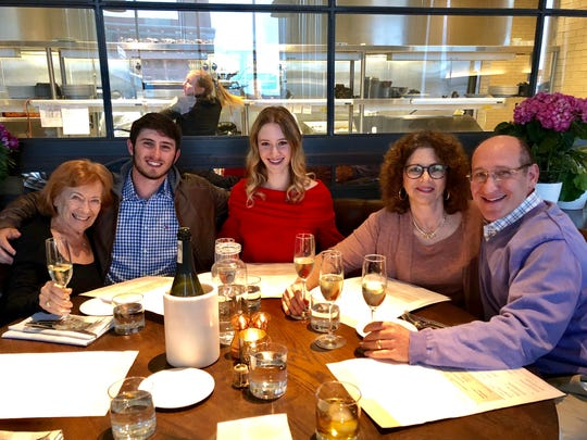 Dinner out with Rick Winter's family includes (from