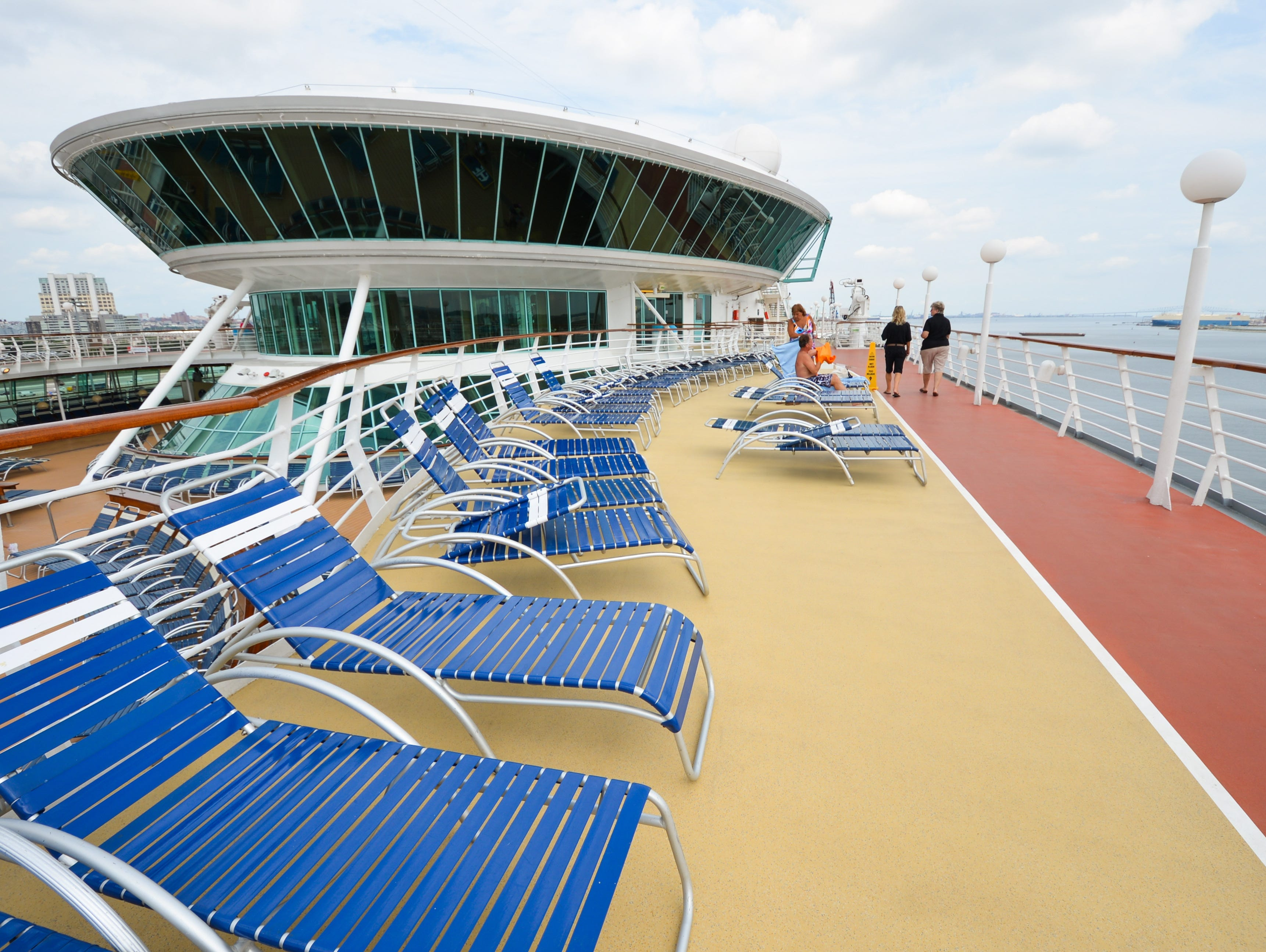 More lounge chairs are available one deck above the pool on Deck 10.