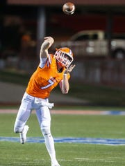 Central's Maverick Mcivor throws the ball during the Class 6A Division II bidistrict playoff against Pebble Hills Friday, Nov. 17, 2017, at San Angelo Stadium.