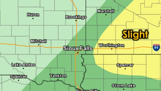 Chance of severe weather on Wednesday, Sept. 21, 2016, for parts of southeast South Dakota.