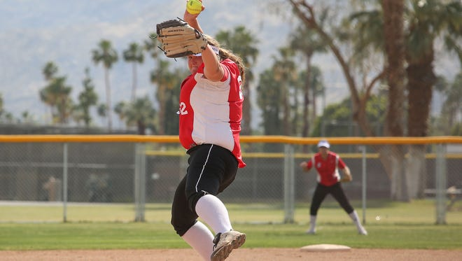 Sarah Martin pitches for the Palm Springs Indians versus Mountain Empire, April 11, 2017.