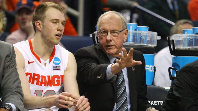 Syracuse coach Jim Boeheim and Trevor Cooney on the bench during a game last season.