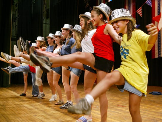 Actors do some high kicking during a 2002 Children's