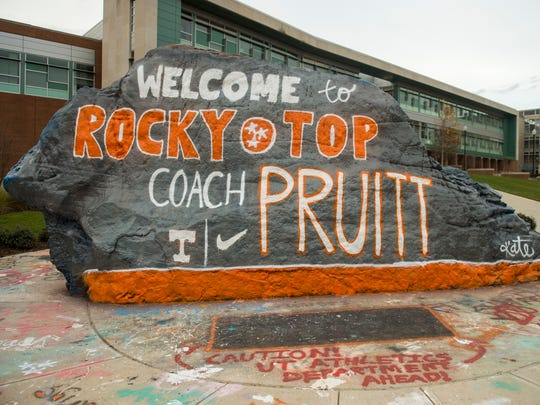 The Rock, painted by University of Tennessee sophomore Kate Luffman, welcomes new UT football coach Jeremy Pruitt to campus on Thursday, Dec. 7, 2017.