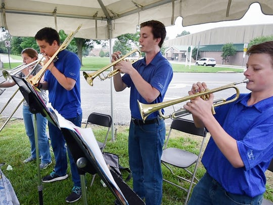 The Rocket Brass opening the County of York Pennsylvania Memorial Day Wreath Laying Ceremony at Memorial Park.The quartet is made up of Spring Grove Area High School students.