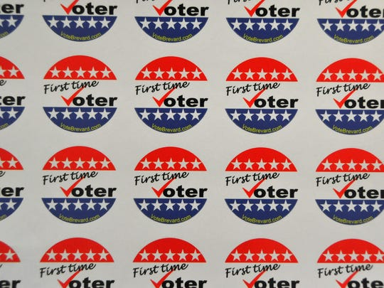 """Brevard Supervisor of Elections Lori Scott ordered unique """"I voted"""" stickers for this election that have been very popular with early voters. Early voting has been so popular, the sites are out of the custom stickers. They also offer """"first time voter"""" stickers."""""""