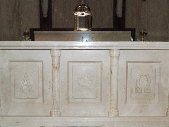The completed altar in St. Landry Catholic Church.