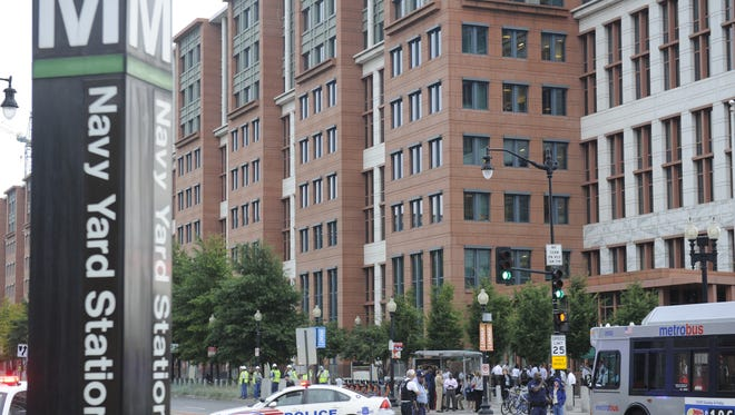 The area near the Navy Yard Metro station - the primary transportation hub for Nationals Park - is cordoned off by D.C. police after Monday's shooting.