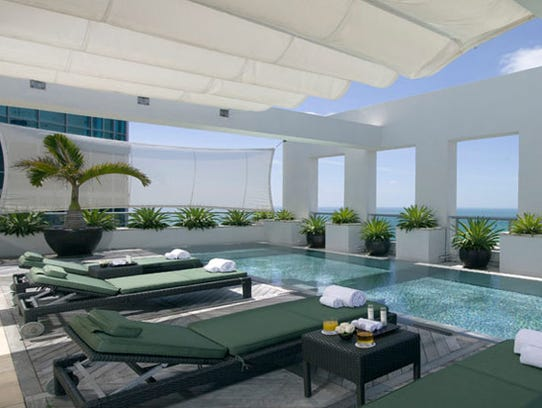 A penthouse pool at the Setai in Miami.