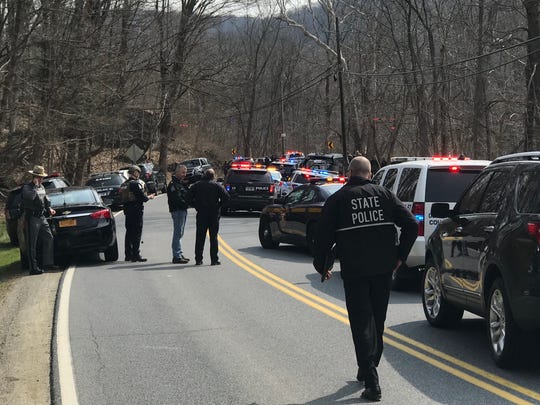 New York State Police respond to a shooting suspect at Dog Tail Corners Road, east of Berkshire Road in the Town of Dover.