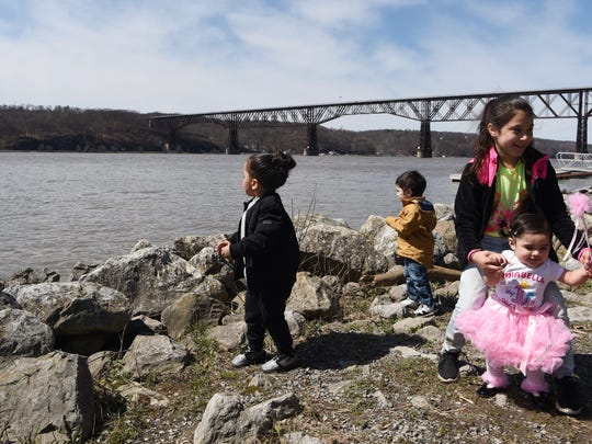 In this file photo from April 13, children enjoy a day in the sun at Victor C. Waryas Park in the City of Poughkeepsie. From left to right: Leonardo Bados, 3; Nicholas Estrada, 2; his sister Andrea Estrada, 8; and Miabella Laureles, 1. All of them are cousins.