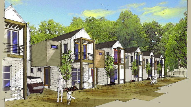 A marketing shot of Gentry Cottages, which Woodland Street Partners built in East Nashville  through a partnership with Core Development . A different product-type is planned at Sterling Point.