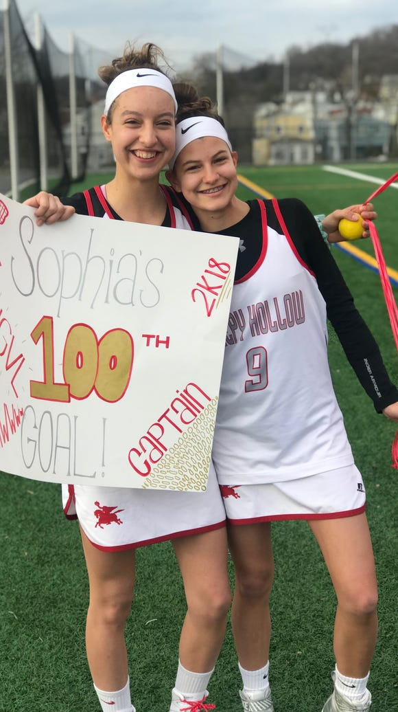 Sleepy Hollow's Sophie Meyer (l) celebrates with sister