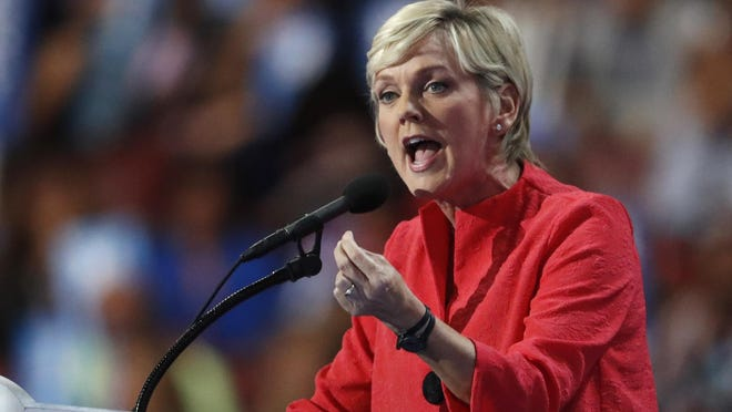 In this July 28, 2016, file photo, former Michigan Gov. Jennifer Granholm speaks during the final day of the Democratic National Convention in Philadelphia.