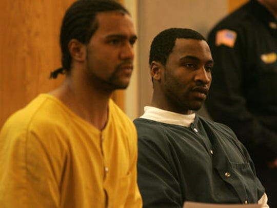Kalil Griffin, right, sits in Superior Court in Monmouth County with Joshua Simmons.